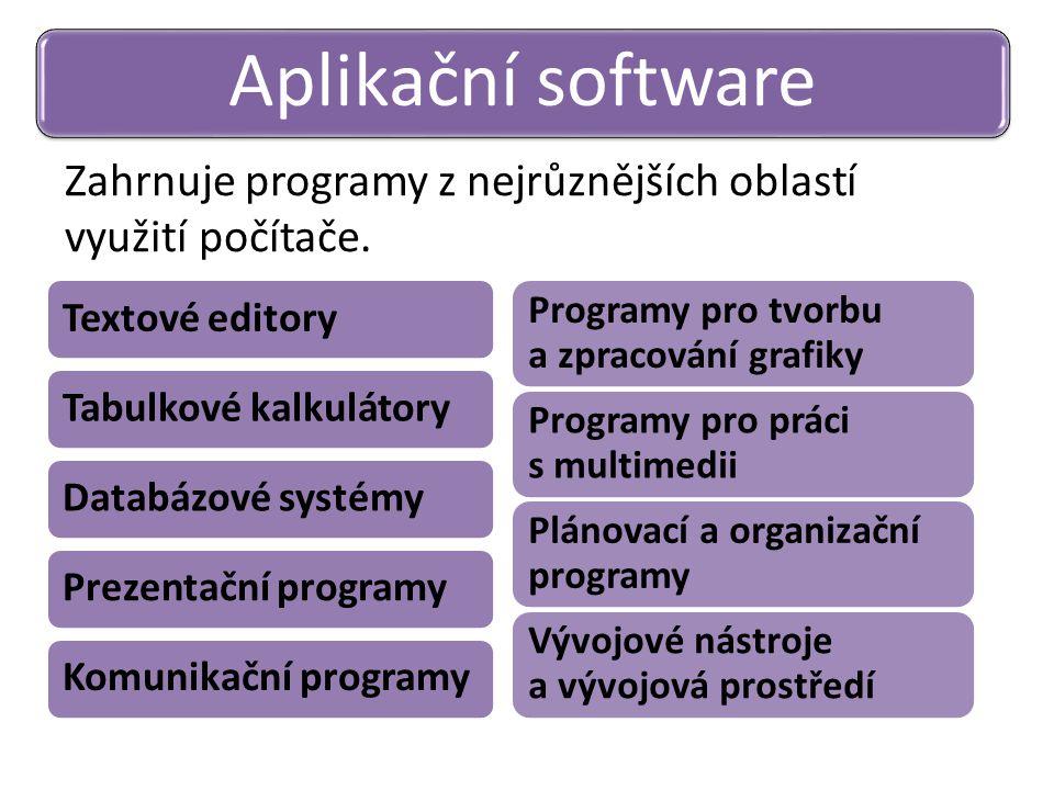 Zahrnuje programy z nejrůznějších oblastí využití počítače. Aplikační software Textové editoryTabulkové kalkulátoryDatabázové systémyPrezentační progr