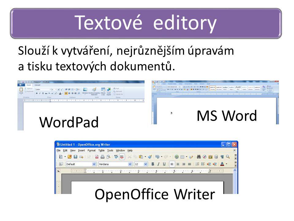 Slouží k vytváření, nejrůznějším úpravám a tisku textových dokumentů. Textové editory WordPad MS Word OpenOffice Writer
