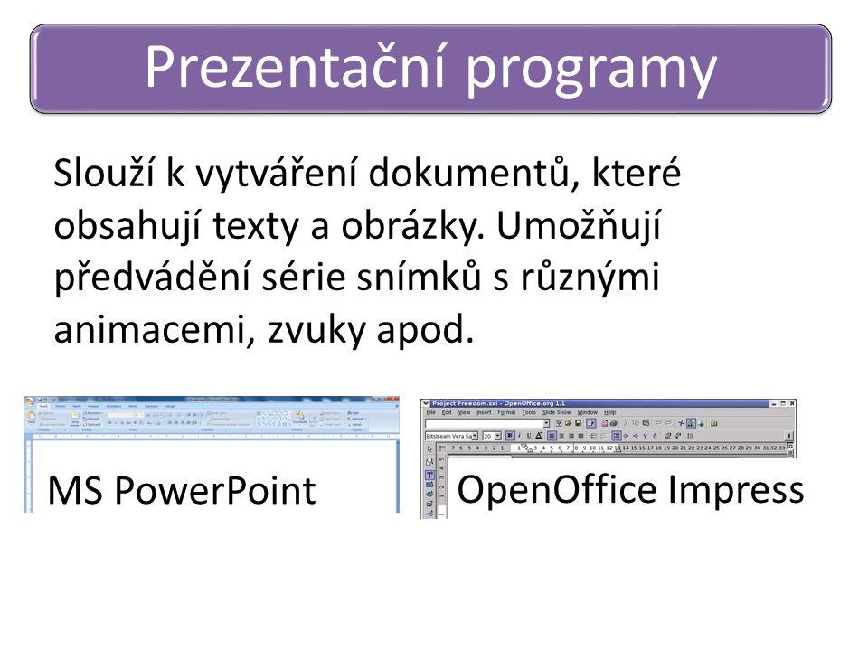 Slouží k vytváření dokumentů, které obsahují texty a obrázky. Umožňují předvádění série snímků s různými animacemi, zvuky apod. Prezentační programy M