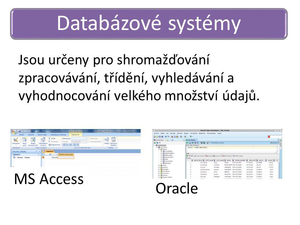 Jsou určeny pro shromažďování zpracovávání, třídění, vyhledávání a vyhodnocování velkého množství údajů. Databázové systémy MS Access Oracle
