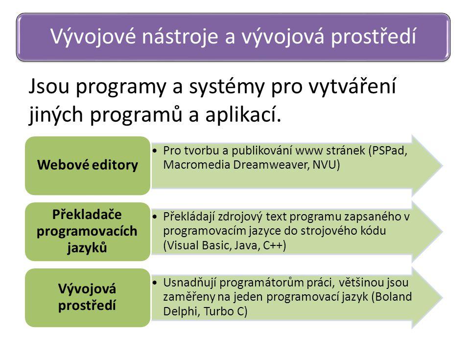 Jsou programy a systémy pro vytváření jiných programů a aplikací. Vývojové nástroje a vývojová prostředí Pro tvorbu a publikování www stránek (PSPad,