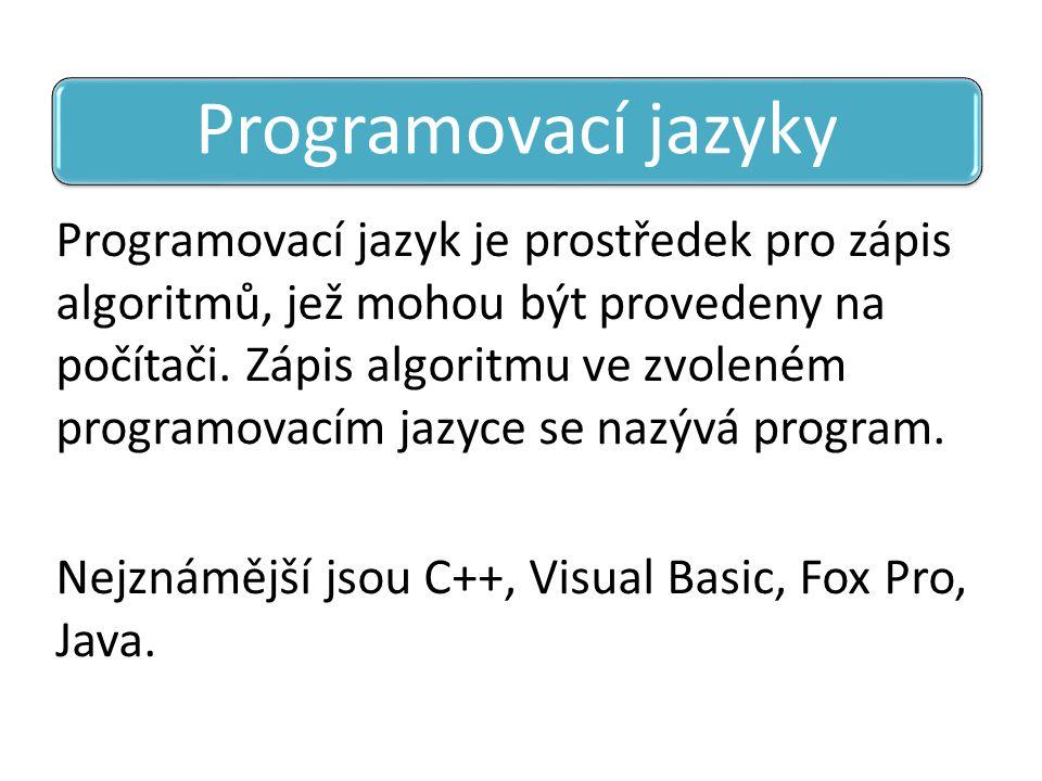 Programovací jazyk je prostředek pro zápis algoritmů, jež mohou být provedeny na počítači. Zápis algoritmu ve zvoleném programovacím jazyce se nazývá