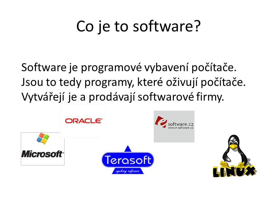 Co je to software? Software je programové vybavení počítače. Jsou to tedy programy, které oživují počítače. Vytvářejí je a prodávají softwarové firmy.