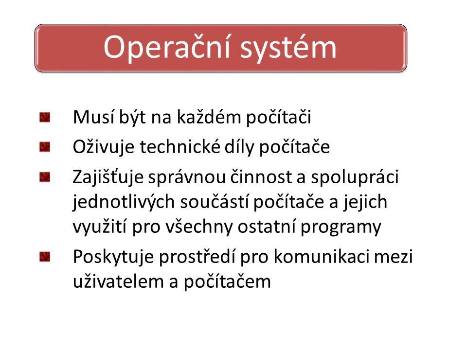 Musí být na každém počítači Oživuje technické díly počítače Zajišťuje správnou činnost a spolupráci jednotlivých součástí počítače a jejich využití pro všechny ostatní programy Poskytuje prostředí pro komunikaci mezi uživatelem a počítačem Operační systém