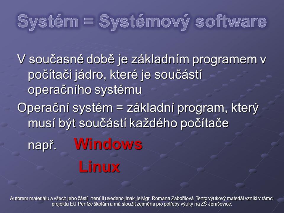 V současné době je základním programem v počítači jádro, které je součástí operačního systému Operační systém = základní program, který musí být součá