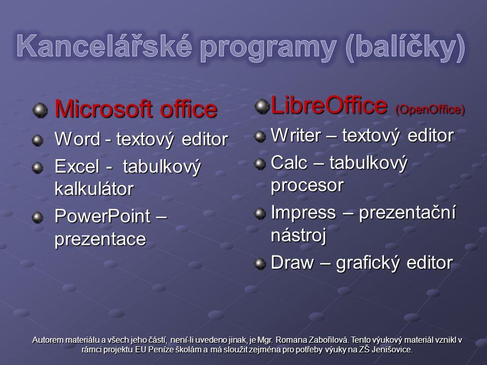 Microsoft office Word - textový editor Excel - tabulkový kalkulátor PowerPoint – prezentace LibreOffice (OpenOffice) Writer – textový editor Calc – ta
