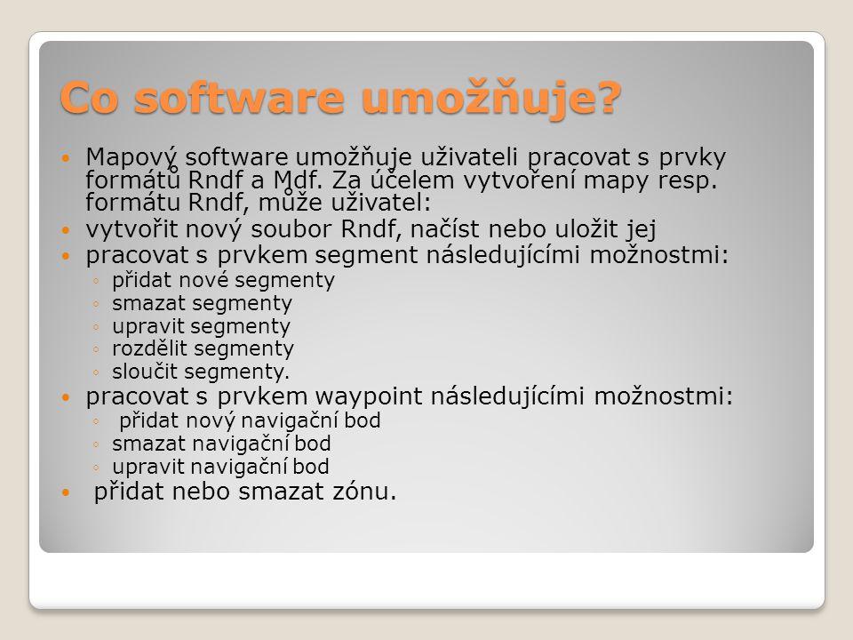 Co software umožňuje. Mapový software umožňuje uživateli pracovat s prvky formátů Rndf a Mdf.