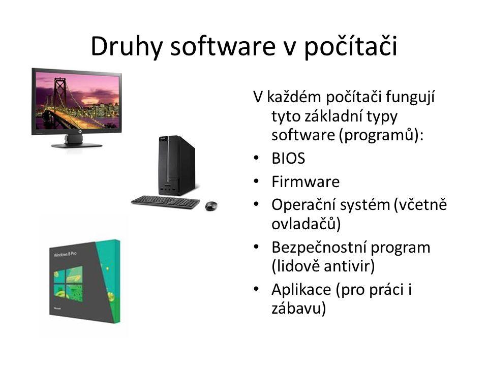 Druhy software v počítači V každém počítači fungují tyto základní typy software (programů): BIOS Firmware Operační systém (včetně ovladačů) Bezpečnost