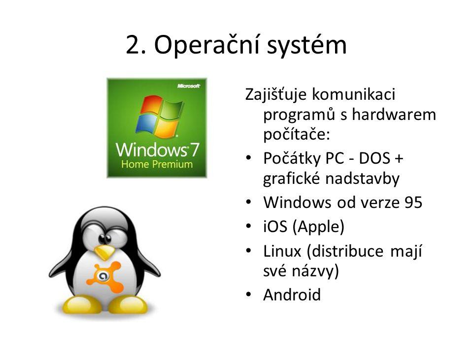 2. Operační systém Zajišťuje komunikaci programů s hardwarem počítače: Počátky PC - DOS + grafické nadstavby Windows od verze 95 iOS (Apple) Linux (di
