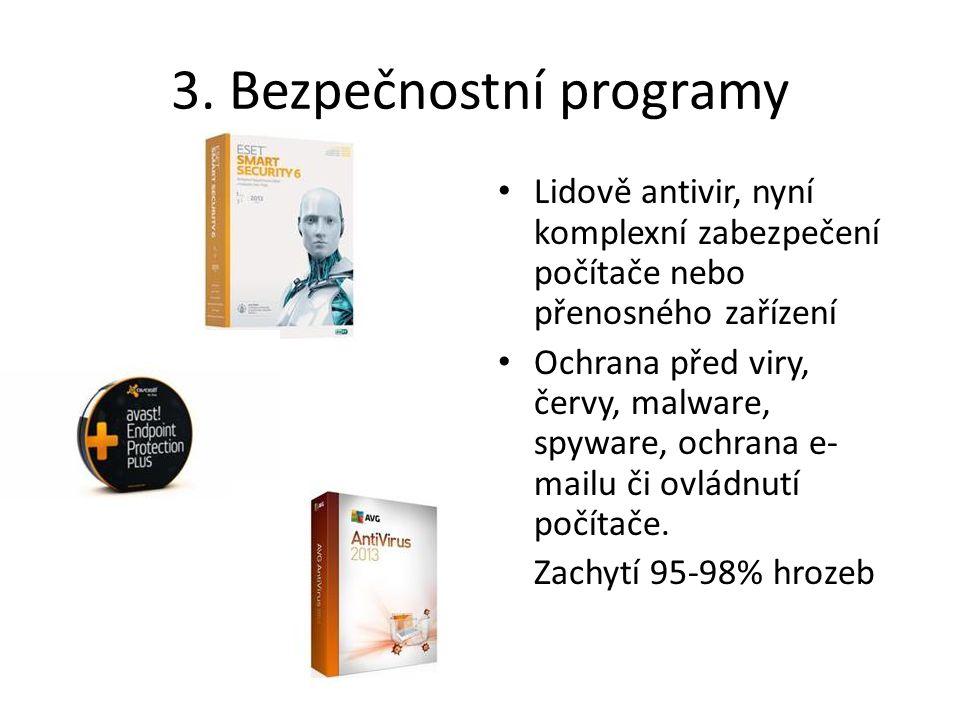 3. Bezpečnostní programy Lidově antivir, nyní komplexní zabezpečení počítače nebo přenosného zařízení Ochrana před viry, červy, malware, spyware, ochr