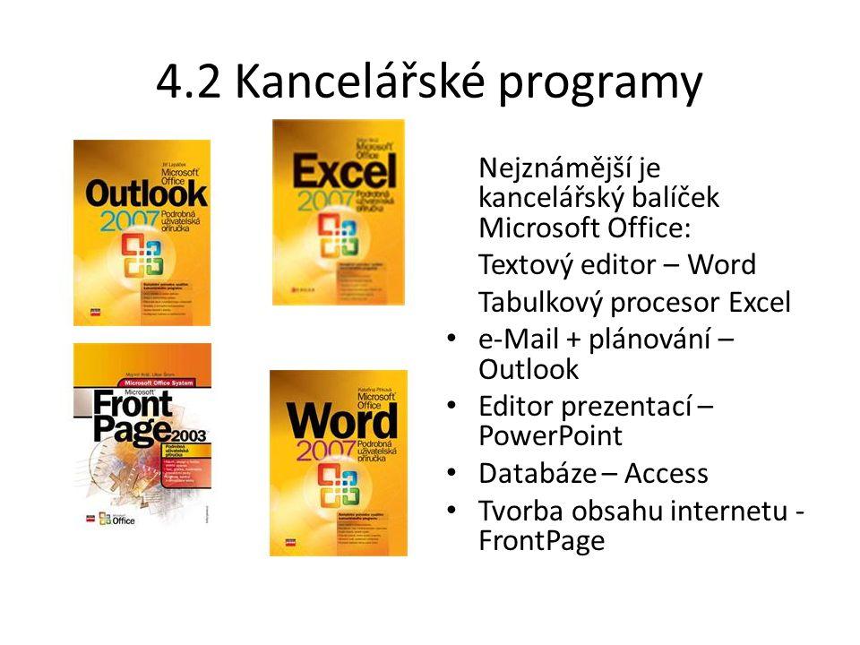4.2 Kancelářské programy Nejznámější je kancelářský balíček Microsoft Office: Textový editor – Word Tabulkový procesor Excel e-Mail + plánování – Outl