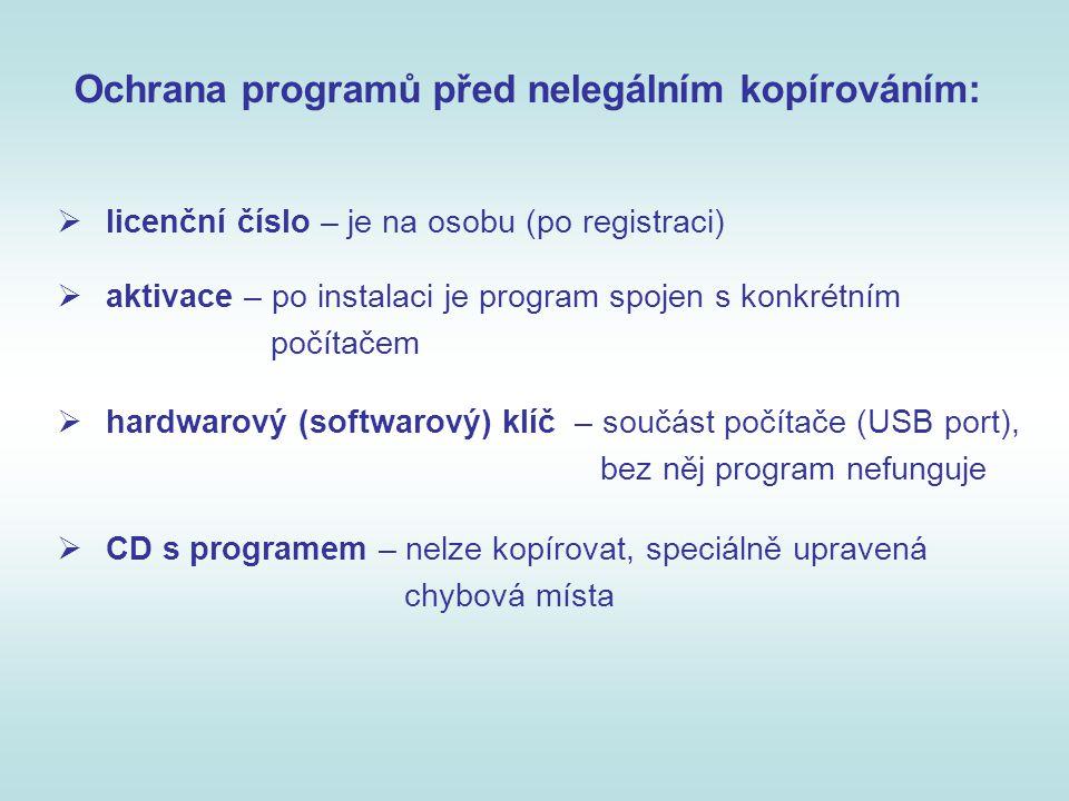 Ochrana programů před nelegálním kopírováním:  licenční číslo – je na osobu (po registraci)  aktivace – po instalaci je program spojen s konkrétním