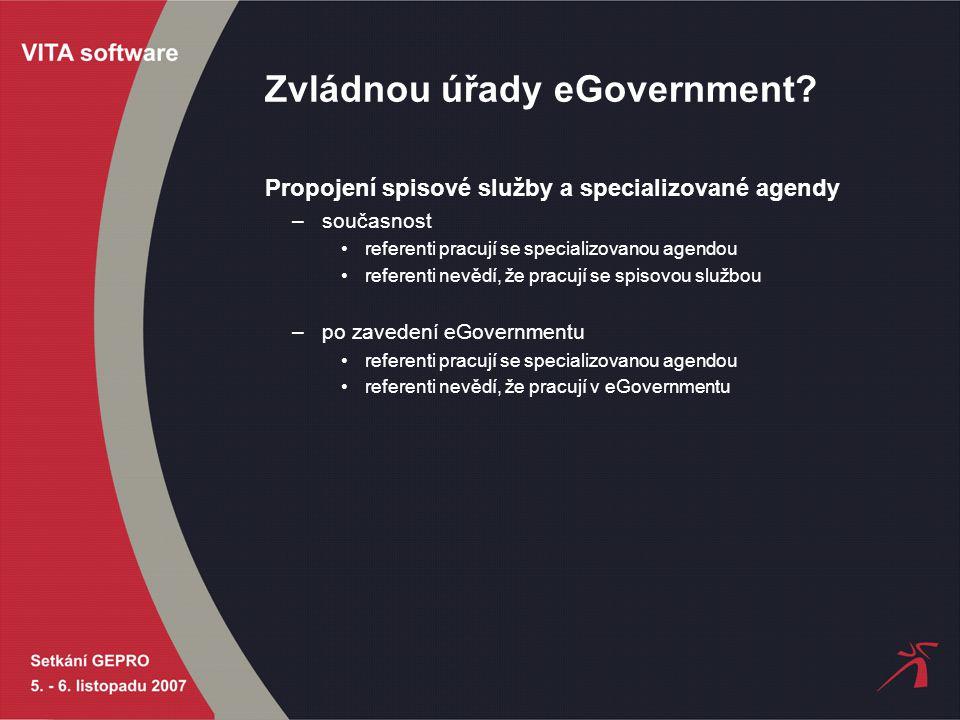 Zvládnou úřady eGovernment? Propojení spisové služby a specializované agendy –současnost referenti pracují se specializovanou agendou referenti nevědí