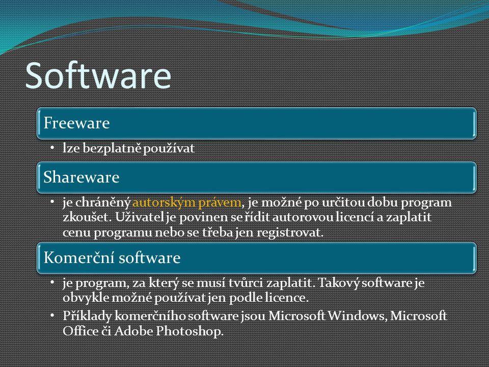 Software Freeware lze bezplatně používat Shareware je chráněný autorským právem, je možné po určitou dobu program zkoušet. Uživatel je povinen se řídi