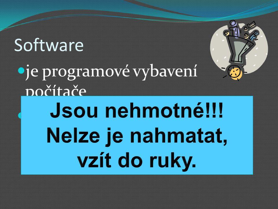 Software je programové vybavení počítače jsou programy používané v počítači, které provádějí nějakou činnost