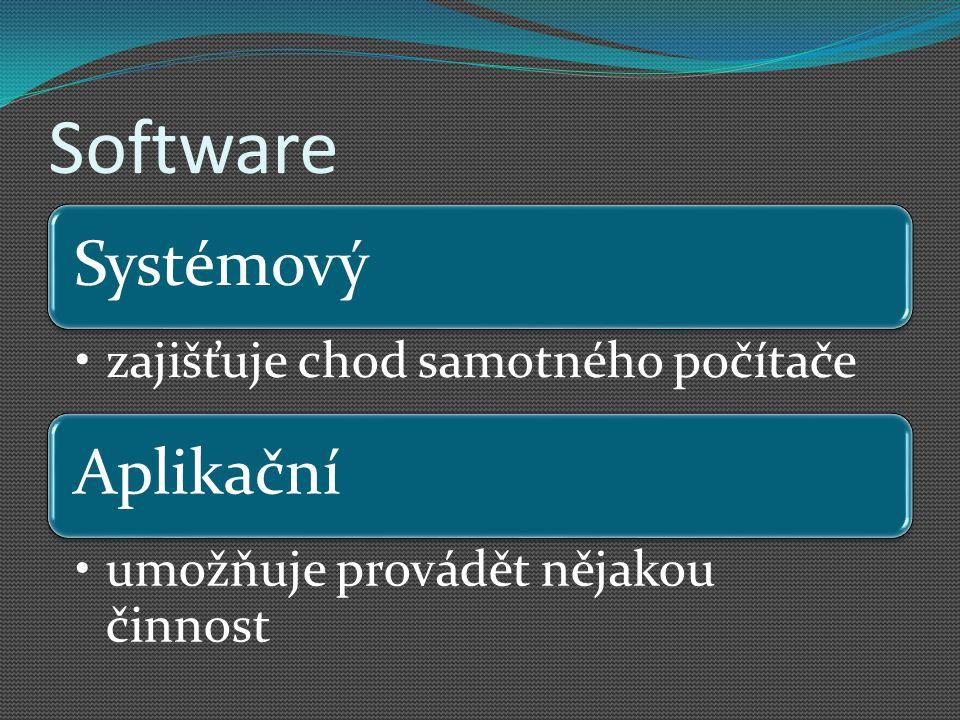 Software Systémový zajišťuje chod samotného počítače Aplikační umožňuje provádět nějakou činnost