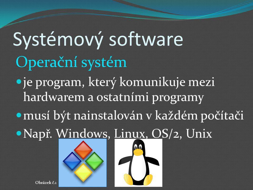 Systémový software Operační systém je program, který komunikuje mezi hardwarem a ostatními programy musí být nainstalován v každém počítači Např. Wind