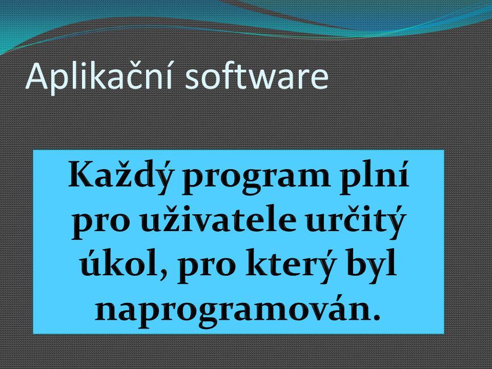 Aplikační software K čemu slouží?