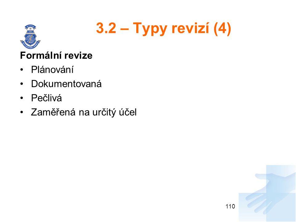 3.2 – Typy revizí (4) Formální revize Plánování Dokumentovaná Pečlivá Zaměřená na určitý účel 110