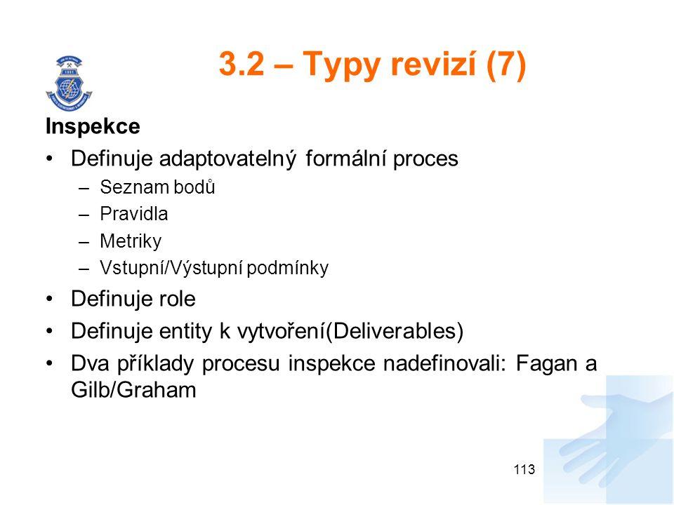 3.2 – Typy revizí (7) Inspekce Definuje adaptovatelný formální proces –Seznam bodů –Pravidla –Metriky –Vstupní/Výstupní podmínky Definuje role Definuj