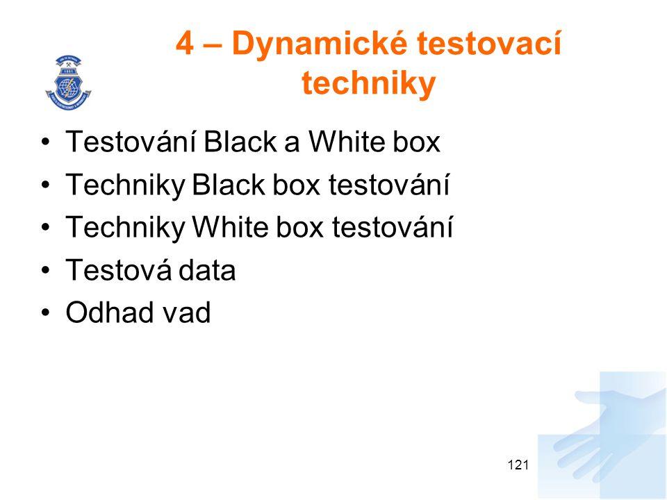 4 – Dynamické testovací techniky Testování Black a White box Techniky Black box testování Techniky White box testování Testová data Odhad vad 121