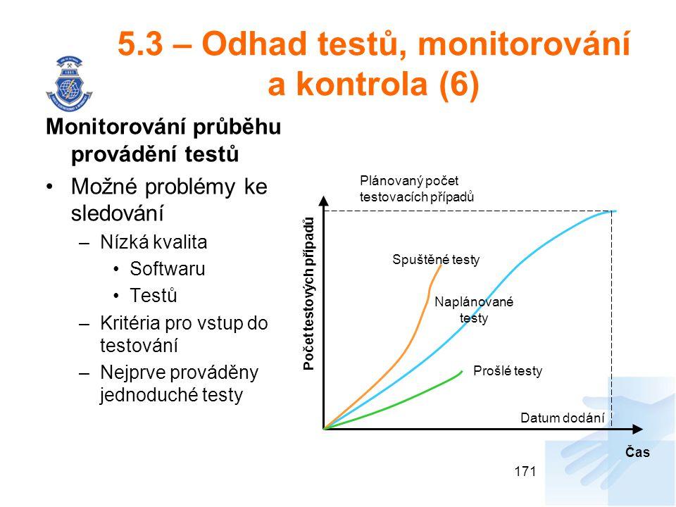 5.3 – Odhad testů, monitorování a kontrola (6) Monitorování průběhu provádění testů Možné problémy ke sledování –Nízká kvalita Softwaru Testů –Kritéri