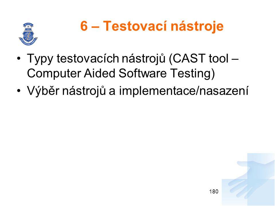 6 – Testovací nástroje Typy testovacích nástrojů (CAST tool – Computer Aided Software Testing) Výběr nástrojů a implementace/nasazení 180