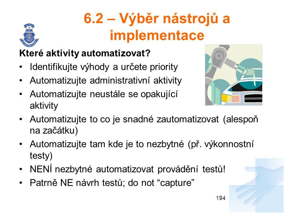 6.2 – Výběr nástrojů a implementace Které aktivity automatizovat? Identifikujte výhody a určete priority Automatizujte administrativní aktivity Automa