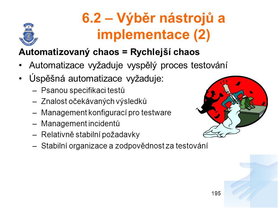 6.2 – Výběr nástrojů a implementace (2) Automatizovaný chaos = Rychlejší chaos Automatizace vyžaduje vyspělý proces testování Úspěšná automatizace vyž