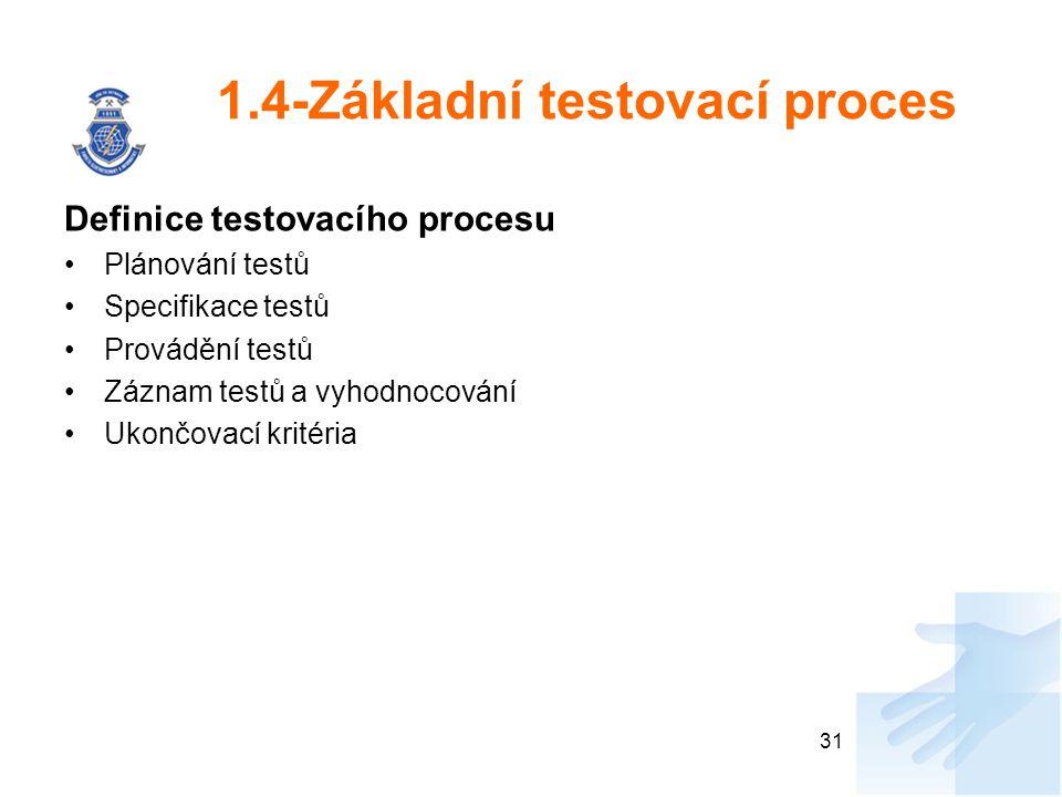 1.4-Základní testovací proces Definice testovacího procesu Plánování testů Specifikace testů Provádění testů Záznam testů a vyhodnocování Ukončovací k