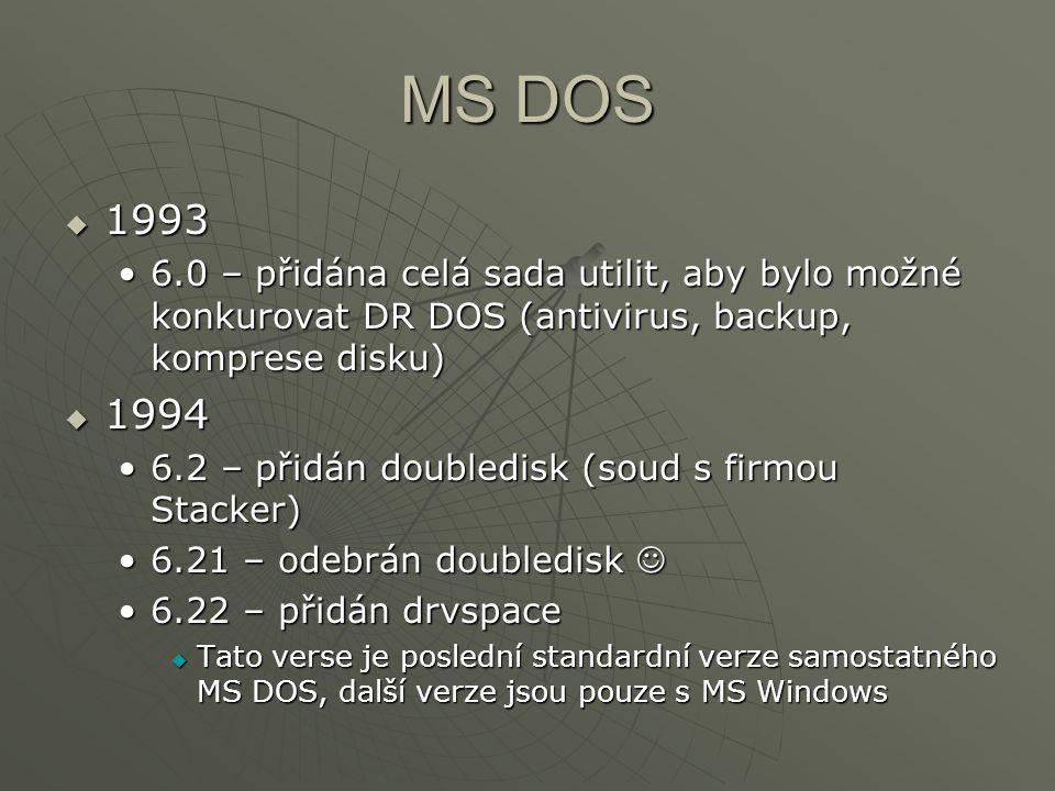 MS DOS  1993 6.0 – přidána celá sada utilit, aby bylo možné konkurovat DR DOS (antivirus, backup, komprese disku)6.0 – přidána celá sada utilit, aby bylo možné konkurovat DR DOS (antivirus, backup, komprese disku)  1994 6.2 – přidán doubledisk (soud s firmou Stacker)6.2 – přidán doubledisk (soud s firmou Stacker) 6.21 – odebrán doubledisk6.21 – odebrán doubledisk 6.22 – přidán drvspace6.22 – přidán drvspace  Tato verse je poslední standardní verze samostatného MS DOS, další verze jsou pouze s MS Windows