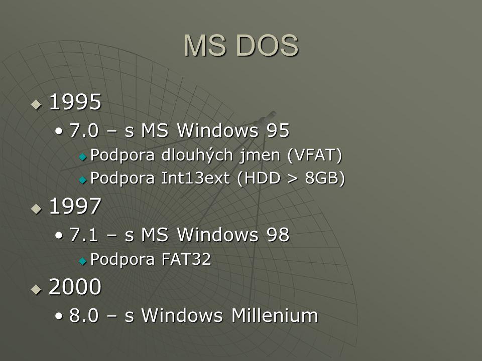 MS DOS  1995 7.0 – s MS Windows 957.0 – s MS Windows 95  Podpora dlouhých jmen (VFAT)  Podpora Int13ext (HDD > 8GB)  1997 7.1 – s MS Windows 987.1 – s MS Windows 98  Podpora FAT32  2000 8.0 – s Windows Millenium8.0 – s Windows Millenium