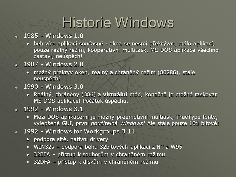Historie Windows  1985 - Windows 1.0 běh více aplikací současně - okna se nesmí překrývat, málo aplikací, pouze reálný režim, kooperativní multitask, MS DOS aplikace všechno zastaví, neúspěch!běh více aplikací současně - okna se nesmí překrývat, málo aplikací, pouze reálný režim, kooperativní multitask, MS DOS aplikace všechno zastaví, neúspěch.