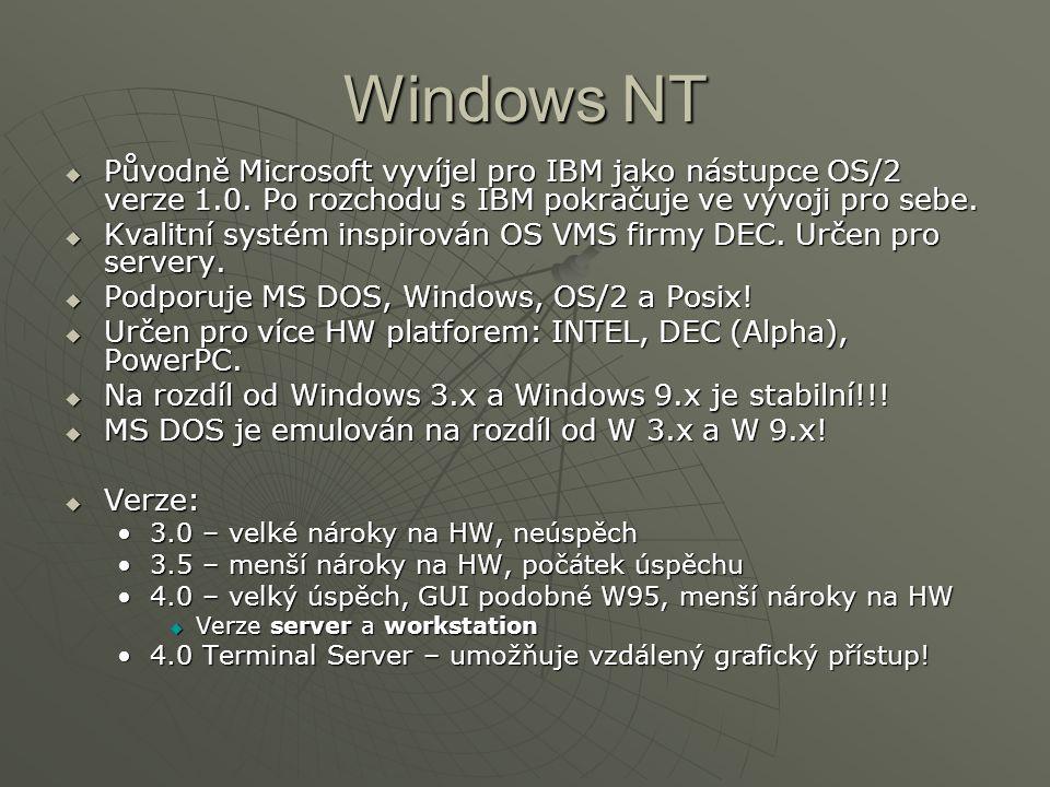 Windows NT  Původně Microsoft vyvíjel pro IBM jako nástupce OS/2 verze 1.0. Po rozchodu s IBM pokračuje ve vývoji pro sebe.  Kvalitní systém inspiro