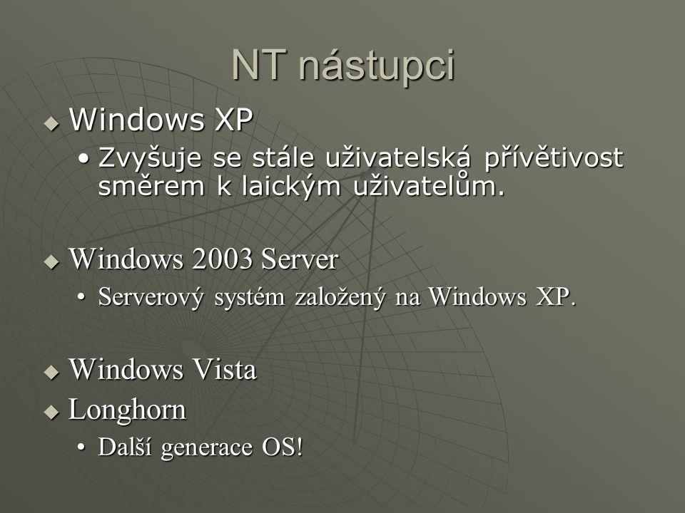 NT nástupci  Windows XP Zvyšuje se stále uživatelská přívětivost směrem k laickým uživatelům.Zvyšuje se stále uživatelská přívětivost směrem k laickým uživatelům.