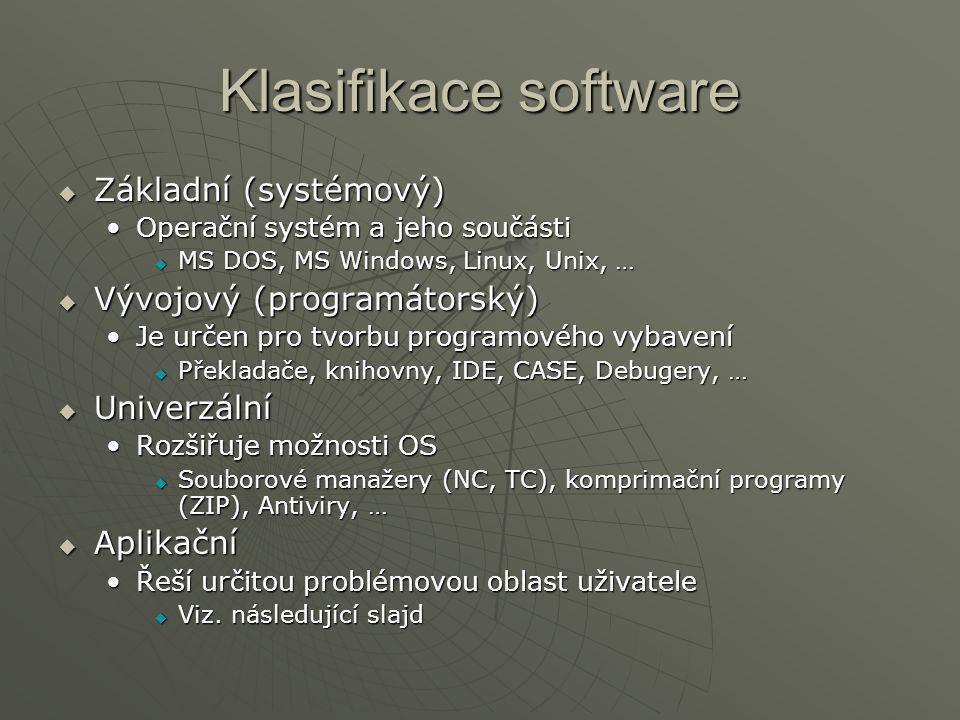 Klasifikace software  Základní (systémový) Operační systém a jeho součástiOperační systém a jeho součásti  MS DOS, MS Windows, Linux, Unix, …  Vývojový (programátorský) Je určen pro tvorbu programového vybaveníJe určen pro tvorbu programového vybavení  Překladače, knihovny, IDE, CASE, Debugery, …  Univerzální Rozšiřuje možnosti OSRozšiřuje možnosti OS  Souborové manažery (NC, TC), komprimační programy (ZIP), Antiviry, …  Aplikační Řeší určitou problémovou oblast uživateleŘeší určitou problémovou oblast uživatele  Viz.