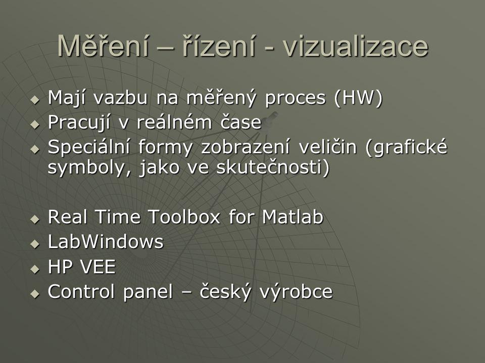 Měření – řízení - vizualizace  Mají vazbu na měřený proces (HW)  Pracují v reálném čase  Speciální formy zobrazení veličin (grafické symboly, jako ve skutečnosti)  Real Time Toolbox for Matlab  LabWindows  HP VEE  Control panel – český výrobce