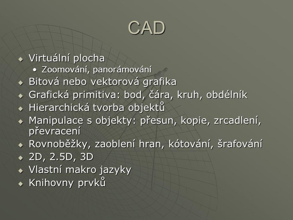 CAD  Virtuální plocha Zoomování, panorámováníZoomování, panorámování  Bitová nebo vektorová grafika  Grafická primitiva: bod, čára, kruh, obdélník  Hierarchická tvorba objektů  Manipulace s objekty: přesun, kopie, zrcadlení, převracení  Rovnoběžky, zaoblení hran, kótování, šrafování  2D, 2.5D, 3D  Vlastní makro jazyky  Knihovny prvků