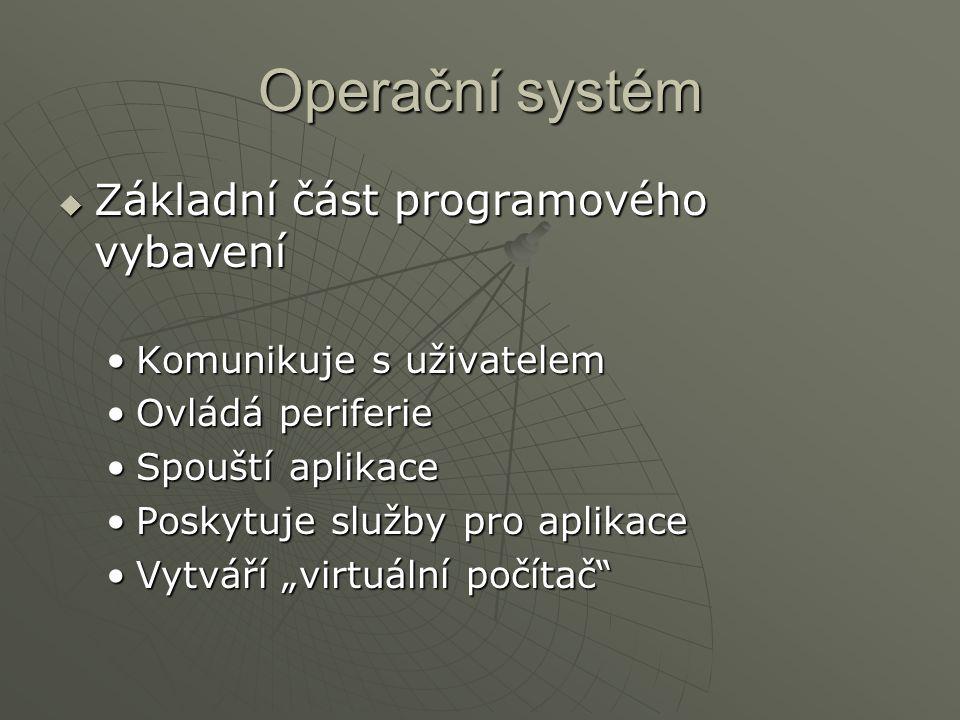 Operační systém  Základní část programového vybavení Komunikuje s uživatelemKomunikuje s uživatelem Ovládá periferieOvládá periferie Spouští aplikace