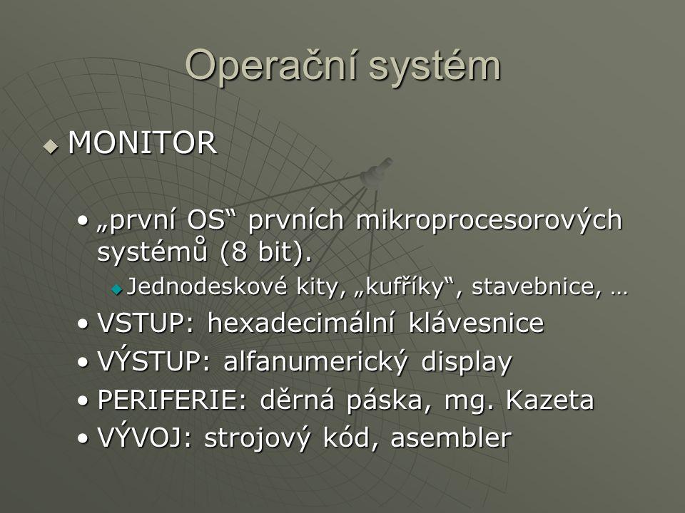"""Operační systém  MONITOR """"první OS"""" prvních mikroprocesorových systémů (8 bit).""""první OS"""" prvních mikroprocesorových systémů (8 bit).  Jednodeskové"""