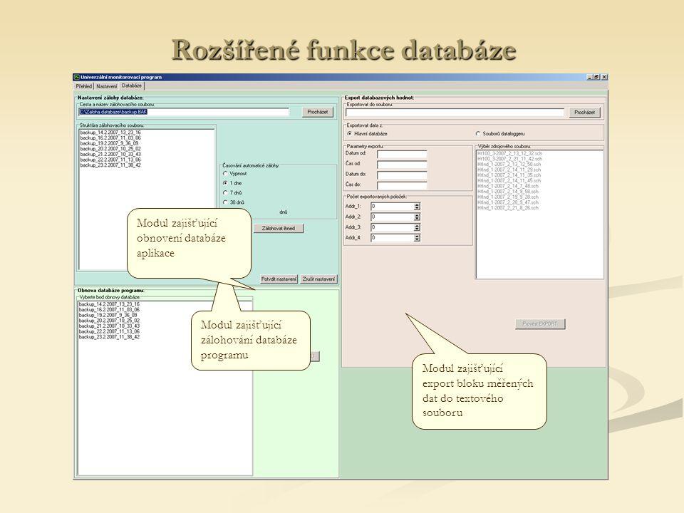 Rozšířené funkce databáze Modul zajišťující zálohování databáze programu Modul zajišťující obnovení databáze aplikace Modul zajišťující export bloku m