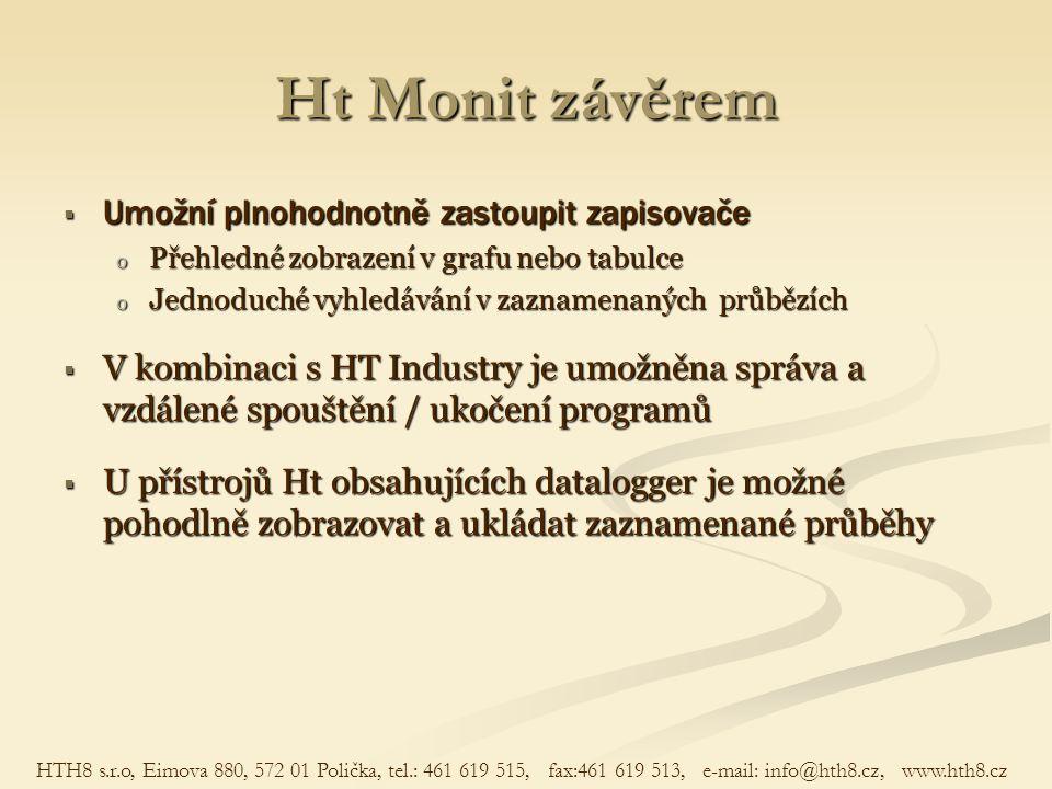 Ht Monit závěrem  Umožní plnohodnotně zastoupit zapisovače o Přehledné zobrazení v grafu nebo tabulce o Jednoduché vyhledávání v zaznamenaných průběz
