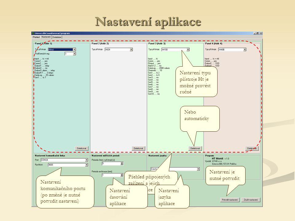 Nastavení aplikace Nastavení komunikačního portu (po změně je nutné potvrdit nastavení) Přehled připojených zařízení a jejich konfigurace Nastavení ty