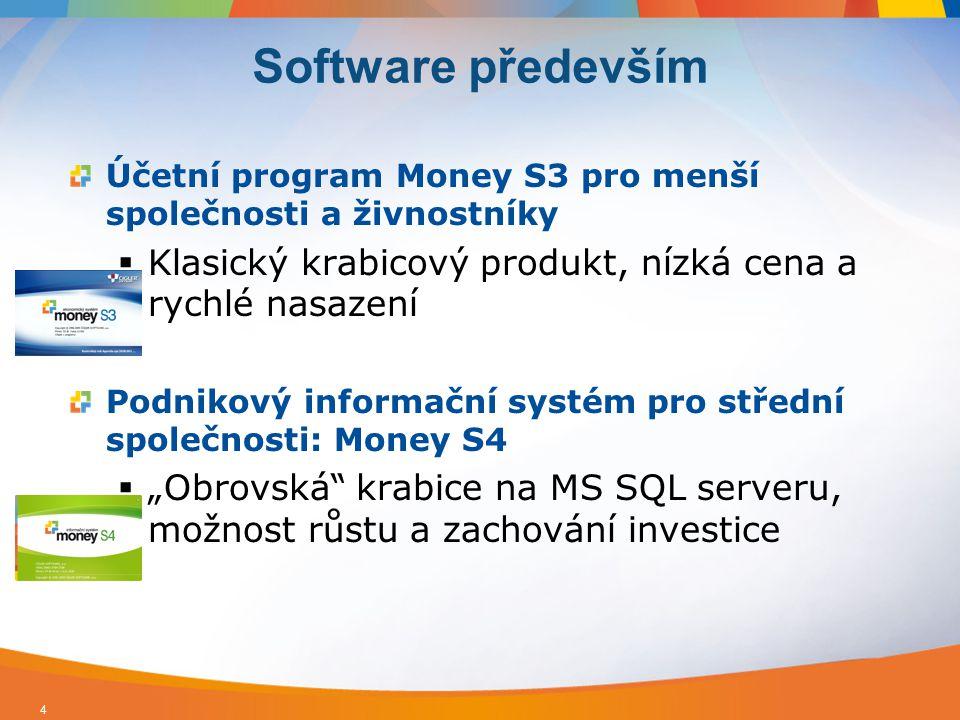 ERP systém pro střední a větší společnosti: Money S5 Robustní, výkonné a bezpečné řešení.NET, MS SQL a MetaDataManager Široká nabídka nadstaveb a možnost individuálních úprav Pokladní systémy a registrační pokladny pro všechny typy prodejen Prodejna SQL – specializované řešení pro dotykové displej, databáze MS SQL 5 Software především II.