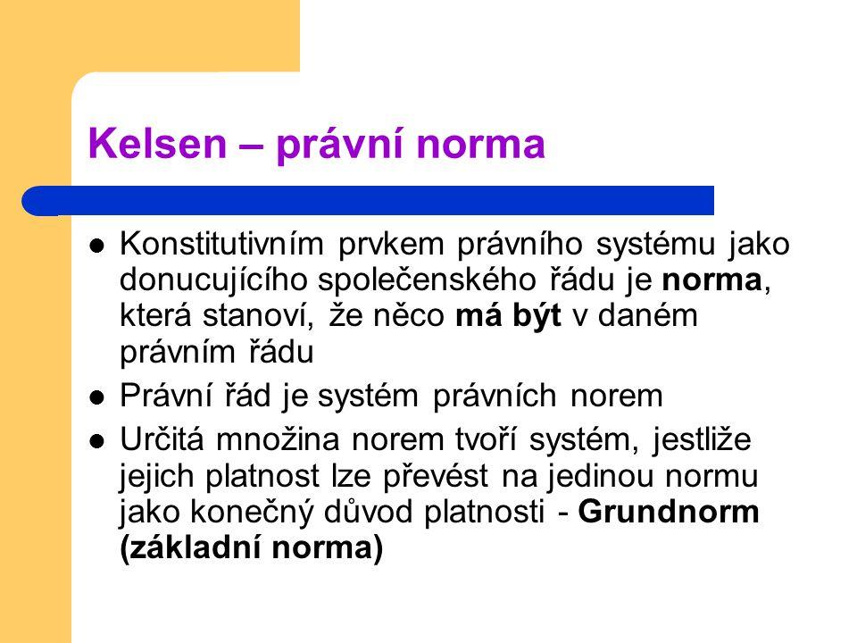 Kelsen – právní norma Konstitutivním prvkem právního systému jako donucujícího společenského řádu je norma, která stanoví, že něco má být v daném práv