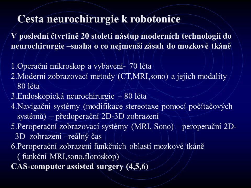 Cesta neurochirurgie k robotonice V poslední čtvrtině 20 století nástup moderních technologií do neurochirurgie –snaha o co nejmenší zásah do mozkové tkáně 1.Operační mikroskop a vybavení- 70 léta 2.Moderní zobrazovací metody (CT,MRI,sono) a jejich modality 80 léta 3.Endoskopická neurochirurgie – 80 léta 4.Navigační systémy (modifikace stereotaxe pomocí počítačových systémů) – předoperační 2D-3D zobrazení 5.Peroperační zobrazovací systémy (MRI, Sono) – peroperační 2D- 3D zobrazení –reálný čas 6.Peroperační zobrazení funkčních oblastí mozkové tkáně ( funkční MRI,sono,floroskop) CAS-computer assisted surgery (4,5,6)