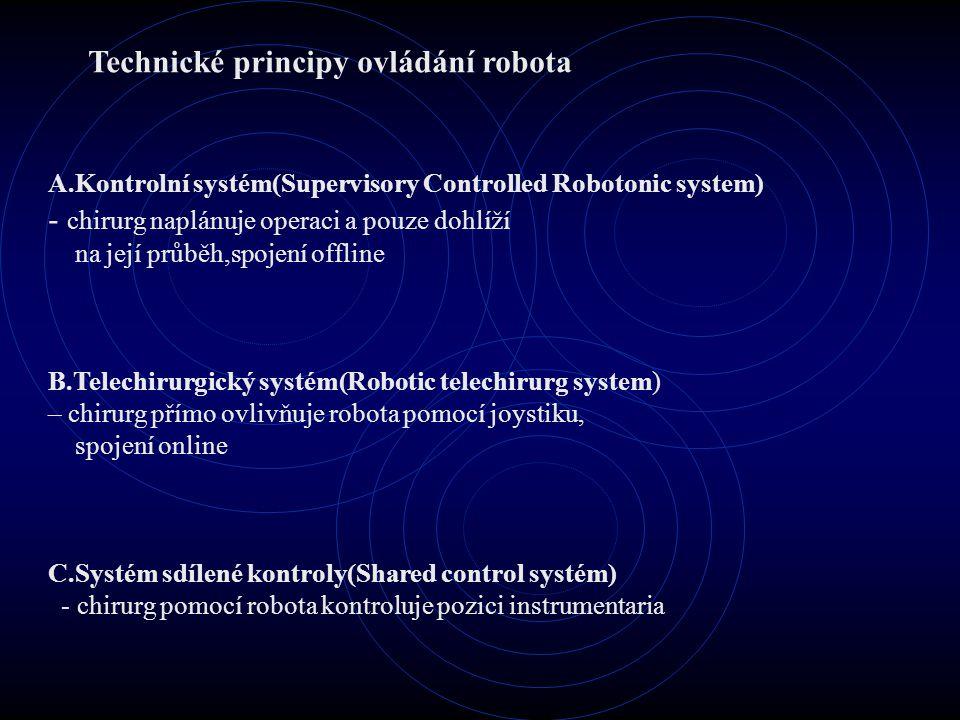 Technické principy ovládání robota A.Kontrolní systém(Supervisory Controlled Robotonic system) - chirurg naplánuje operaci a pouze dohlíží na její průběh,spojení offline B.Telechirurgický systém(Robotic telechirurg system) – chirurg přímo ovlivňuje robota pomocí joystiku, spojení online C.Systém sdílené kontroly(Shared control systém) - chirurg pomocí robota kontroluje pozici instrumentaria