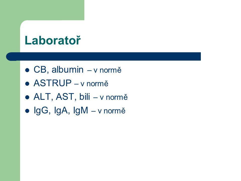 Laboratoř CB, albumin – v normě ASTRUP – v normě ALT, AST, bili – v normě IgG, IgA, IgM – v normě