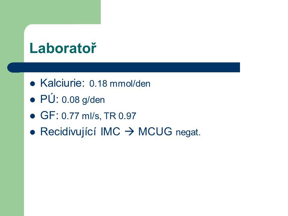 Laboratoř Kalciurie: 0.18 mmol/den PÚ: 0.08 g/den GF: 0.77 ml/s, TR 0.97 Recidivující IMC  MCUG negat.