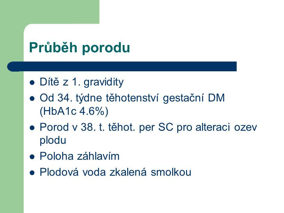 Průběh porodu Dítě z 1. gravidity Od 34. týdne těhotenství gestační DM (HbA1c 4.6%) Porod v 38. t. těhot. per SC pro alteraci ozev plodu Poloha záhlav